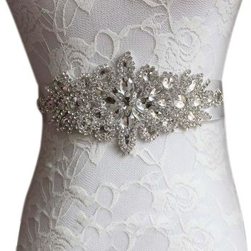 "Rhinestones Applique Ribbon Wedding Dress Sash - Length 106.3"" inches"