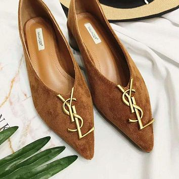 YSL Trending Women Stylish Casual Leather Pointed Toe Flat Shoes Single Shoe Brown I12320-1