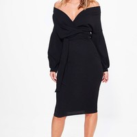 Nina Off The Shoulder Wrap Midi Bodycon Dress | Boohoo
