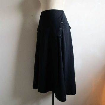 Vintage ESCADA 1980s Pencil Skirt Margaretha Ley Black 80s Wool Wrap Asymmetrical Midi Skirt 40