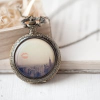 I love New York pocket watch necklace  Art jewelry  by BeautySpot
