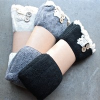 knee high vintage style boot socks with buttons + lace - Ivory