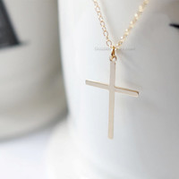 Gold Cross necklace/ Gold Filled Cross Necklace / Perfect Layering Necklace/ Choose your length