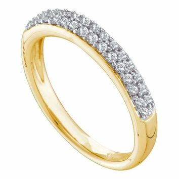 14kt Yellow Gold Women's Round Pave-set Diamond Double Row Wedding Band 1-4 Cttw - FREE Shipping (US/CAN)