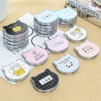 1 Pc Cute Cat Design Portable Foldable Makeup Cosmetic Compact Mirrors