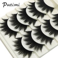 Putimi 5pairs Natural False Eyelashes Set Long Eye Lash Extension Tools Full Strip Lashes 3D Handmade Fake Eyelashes Makeup Tool