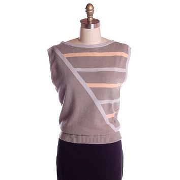 Vintage Pringle Taupe Cashmere Patterned Sweater Vest  Eu 38/97 1950s