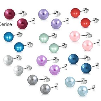 Colorful Medley Pearl Bead Earrings on Stainless Steel ~ 11 Colors to Choose!