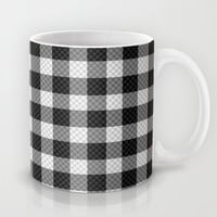 Sleepy Black and White Plaid Mug by RichCaspian