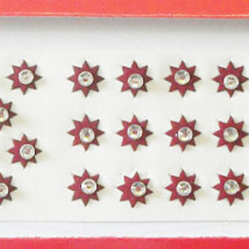46 Maroon star bindi,Crystal third eye bindi,Forhead star bindi,Indian party bindi dot,Stick on body jewels,Marathi bindi style,Face jewels