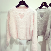 White/Pink/Grey Fleece Heart Hallow Sweater SP154273 from SpreePicky