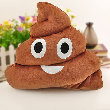1Pc Cute Emoji Cushion Poo Shape Pillow Stuffed Doll Toys Kids Gifts (Size: 36cm by 33cm by 29cm, Color: Coffee) = 1946176836