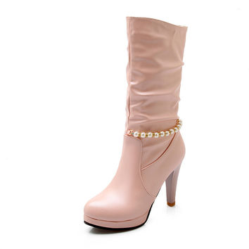 Beads Chains High Heels Women Boots Stiletto Heel 6531