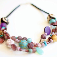 Turquoise purple necklace, African necklace, lava beads, teardrop necklace, ethnic jewelry, large bone beads, Ethiopian jewelry, vinyl disks