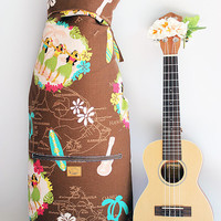 Tenor ukulele case & ribbon lei(Ready to ship)/ hula girl brown / ukulele gig bag / hawaiian fabric / tropical / surfboard / instrument case