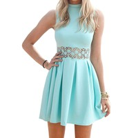 SUNNOW® Womens Sleeveless Lace Splicing High Neck Party Skater Short Dress