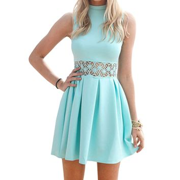 SUNNOW Womens Sleeveless Lace Splicing High Neck Party Skater Short Dress (XS)