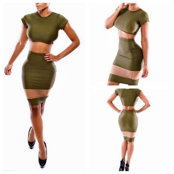 Army Green Short Sleeve Cropped Top and Bodycon Skirt with Mesh Accent