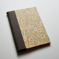 Quarter Leather Jotter - Handbound Journal - Pink Flowers Design with Brown Leather - Great Gift or Stocking Stuffer