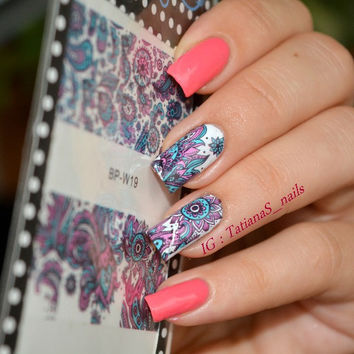 1 Sheet BORN PRETTY Beauty Nails Blooming Flower Nail Art Water Decals Floral Nail Transfer Stickers BP-W19