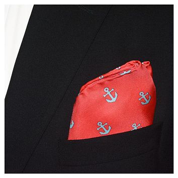 Anchor Pocket Square - Light Blue on Coral