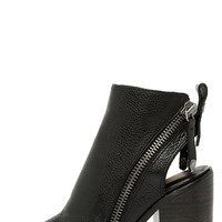 Dolce Vita Port Black Leather Peep Toe Ankle Booties