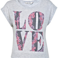 Floral Love Slogan Cropped Tee - Tops  - Apparel