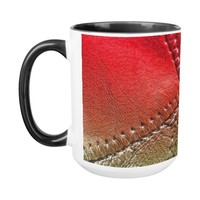 """leather"" look design on a coffee mug"