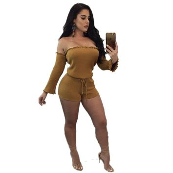 Fitted Off Shoulder Solid Rompers