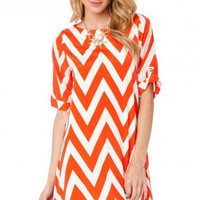 Forever Short Sleeve Zig Zag Shift Dress in Blood Orange - ShopSosie.com