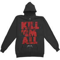 Metallica Men's  Kill Em All Mutated Zippered Hooded Sweatshirt Black Rockabilia