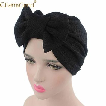 Chamsgend Turban Drop Shipping Women's Stylish Knit Fitted Big Bow Headscarf Hat Headwraps 71017