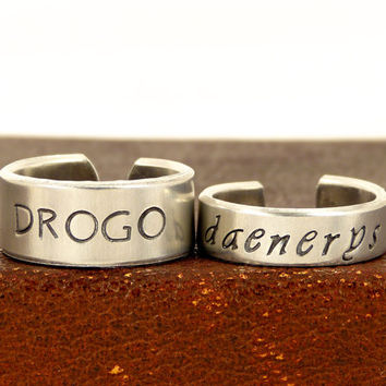 Drogo and Daenerys - Game of Thrones - Adjustable Aluminum Rings