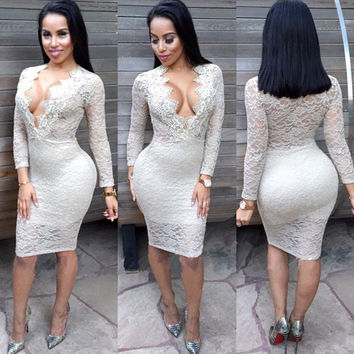 White Deep V-Neck Long Sleeve Floral Lace Bodycon Dress