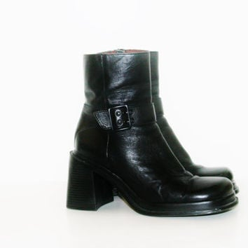 90s Platform chunky Boots Shoes Black leather Cyber Goth Punk soft Grunge Club Kid boho Festival hipster rave cosplay buckle us 8 ankle
