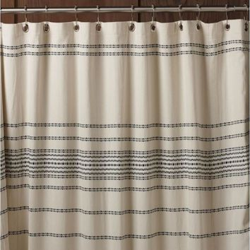 Rippled Stripe Ivory Organic Shower Curtain