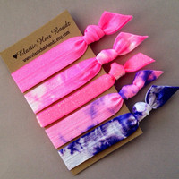 The Fuchsia Hair Tie -Ponytail Holder Collection - 5 Elastic Hair Ties by Elastic Hair Bandz on Etsy