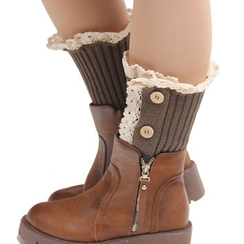 women girls knit boot cuffs acrylic cable pattern lace boot socks 3 buttons leg warmers bontique accessory knitted gaiters 5pcs