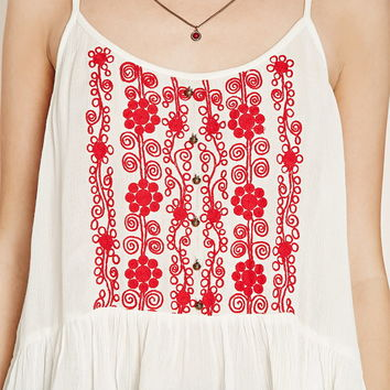 Shirred Floral-Embroidered Cami | Forever 21 - 2000160369