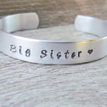 Bracelet BIG SISTER Hand Stamped Jewelry Cuff Quote Personalized Sisters New Siblings Gift Toddler Children's Sizes