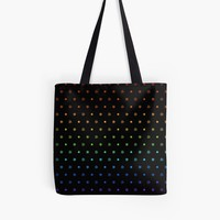 'Knot Star Pattern Rainbow on Black' Tote Bag by craftymummy