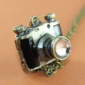 3D Black camera locket necklace