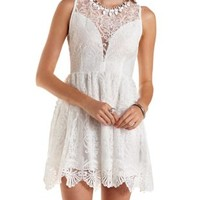 Plunging Crocheted Mesh Skater Dress by Charlotte Russe - White