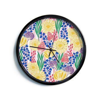 "Amy Reber ""Pretty Bouquet"" Yellow Floral Modern Wall Clock"