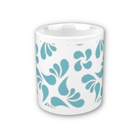 Blue Curacao And White Graphic Art Pattern Mugs from Zazzle.com
