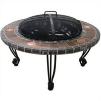 Steel Firebowl Decorative Slate And Marble Surround Heavy Iron Stand Outdoor Use