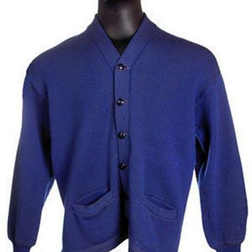 "Vintage Mens Rugby Sweater Royal Blue Wool 1930s 44"" Chest Elbow Patches"