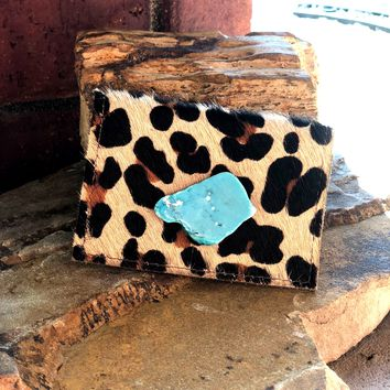 Leopard with Turquoise Slab Credit Card/ Business Card Holder