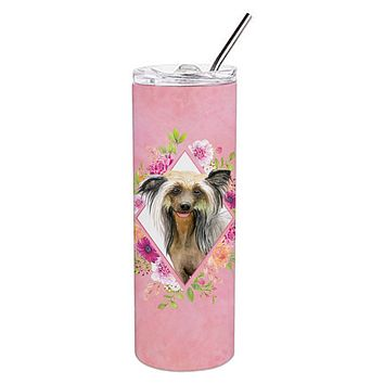 Chinese Crested Pink Flowers Double Walled Stainless Steel 20 oz Skinny Tumbler CK4130TBL20