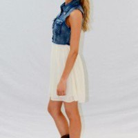 Denim Top With Cream Silk Bottom - Always a Runway Clothing